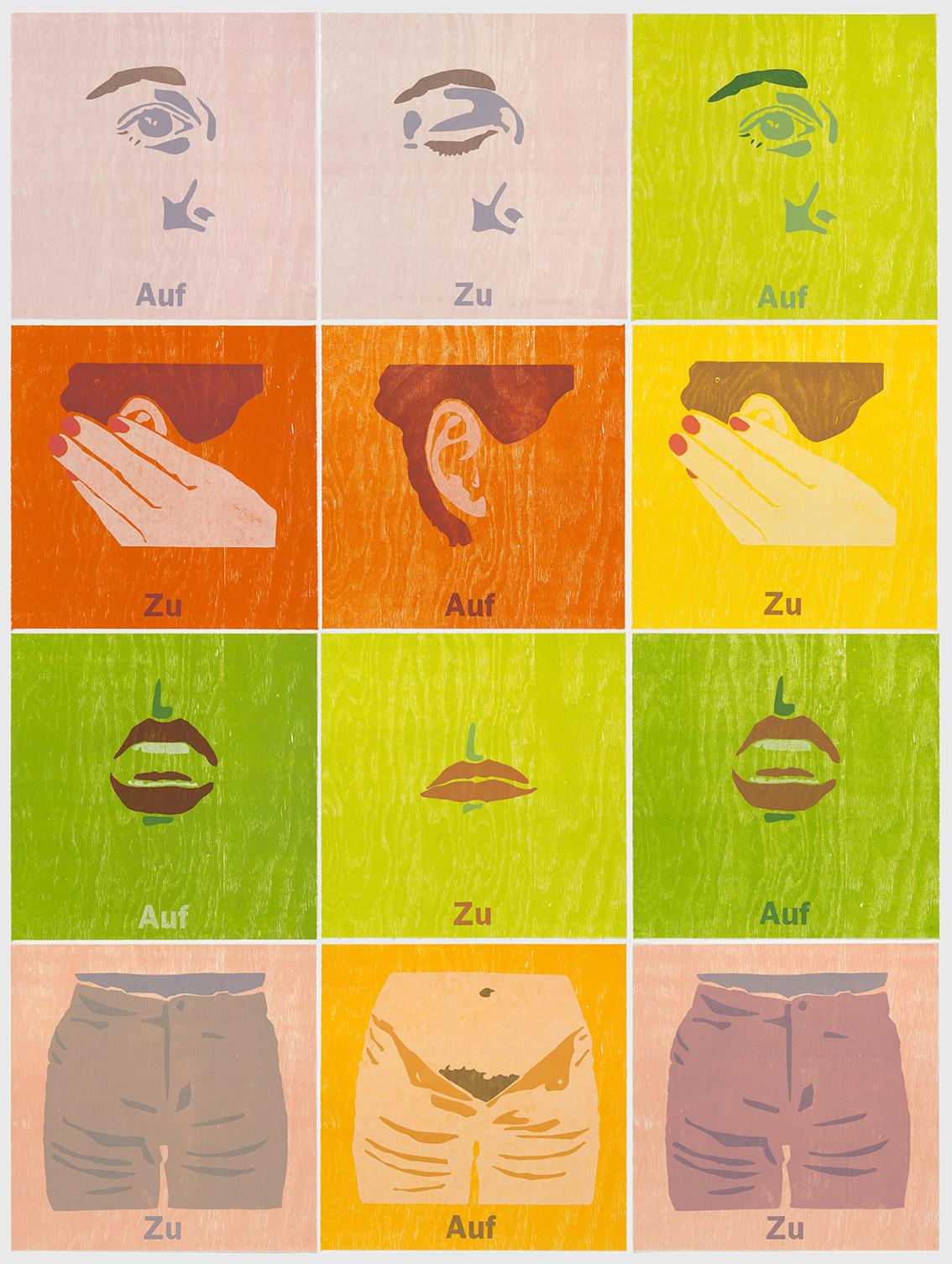 """Tobias Ruppert, """"AUF_ZU_AUF"""", 2001, Holzschnitt,"""
