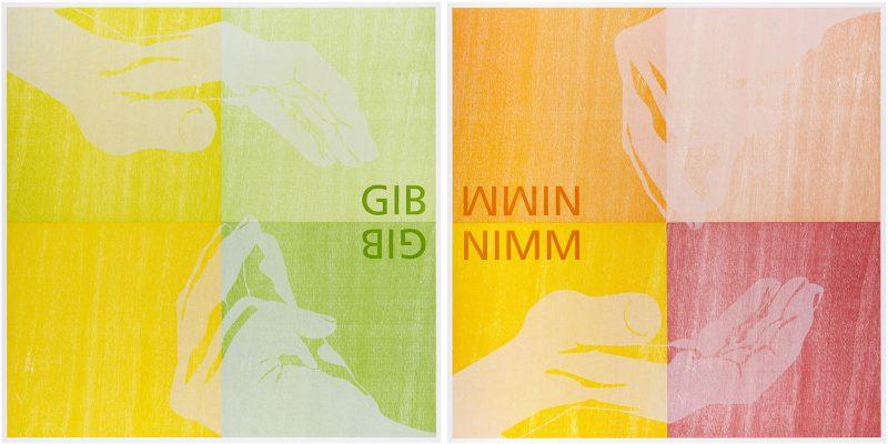 "Tobias Ruppert, ""GIB NIMM"", 2006, Holzschnitt"