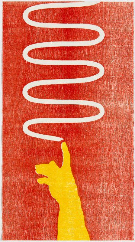 """Tobias Ruppert, """"SONDERDRUCKE STUTTGART – Hand"""", 2003, Holzschnitt"""